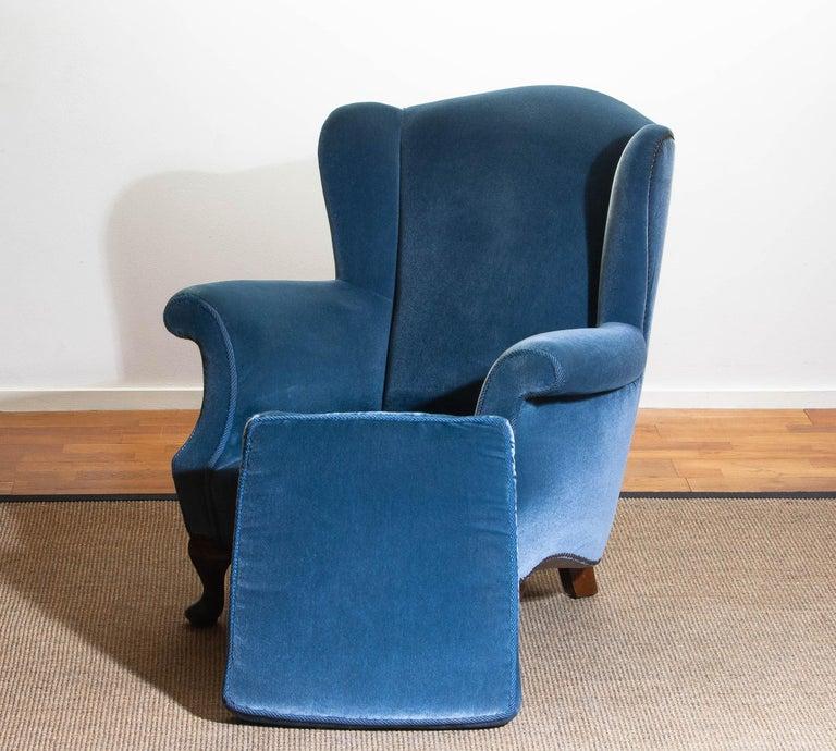 1920s, Hollywood Regency Blue Velvet Wingback Club / Lounge Chair, Sweden For Sale 6