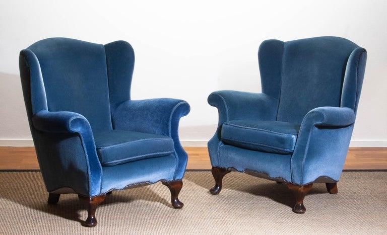 1920s, Hollywood Regency Blue Velvet Wingback Club / Lounge Chair, Sweden For Sale 7