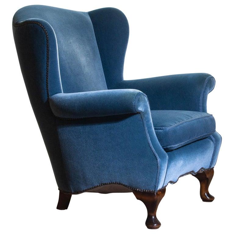 Swedish 1920s, Hollywood Regency Blue Velvet Wingback Club / Lounge Chair, Sweden For Sale
