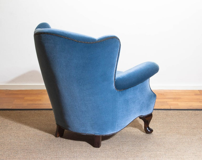 1920s, Hollywood Regency Blue Velvet Wingback Club / Lounge Chair, Sweden For Sale 1