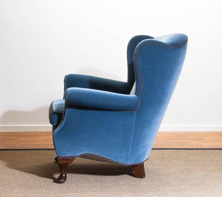 1920s, Hollywood Regency Blue Velvet Wingback Club / Lounge Chair, Sweden For Sale 3