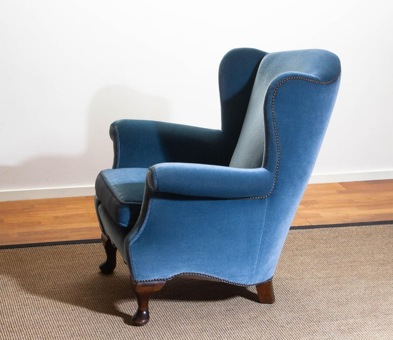1920s, Hollywood Regency Blue Velvet Wingback Club / Lounge Chair, Sweden For Sale 4