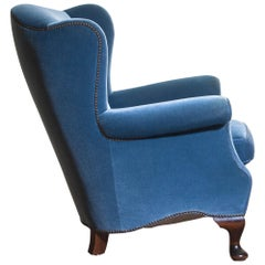 1920s, Hollywood Regency Blue Velvet Wingback Club / Lounge Chair, Sweden
