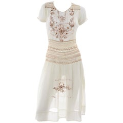1920s Hungarian Peasant Embroidered Cream Cotton Dress w Smock Pleating
