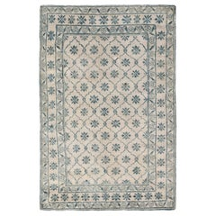 1920s Indian Agra White and Blue Handmade Cotton Rug