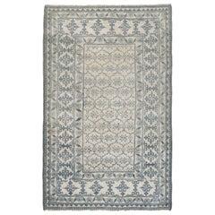 1920s Indian Agra White and Indigo Blue Handmade Cotton Rug