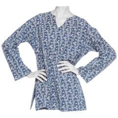1920S Indigo Blue & White Organic Cotton Floral Print Tunic Top