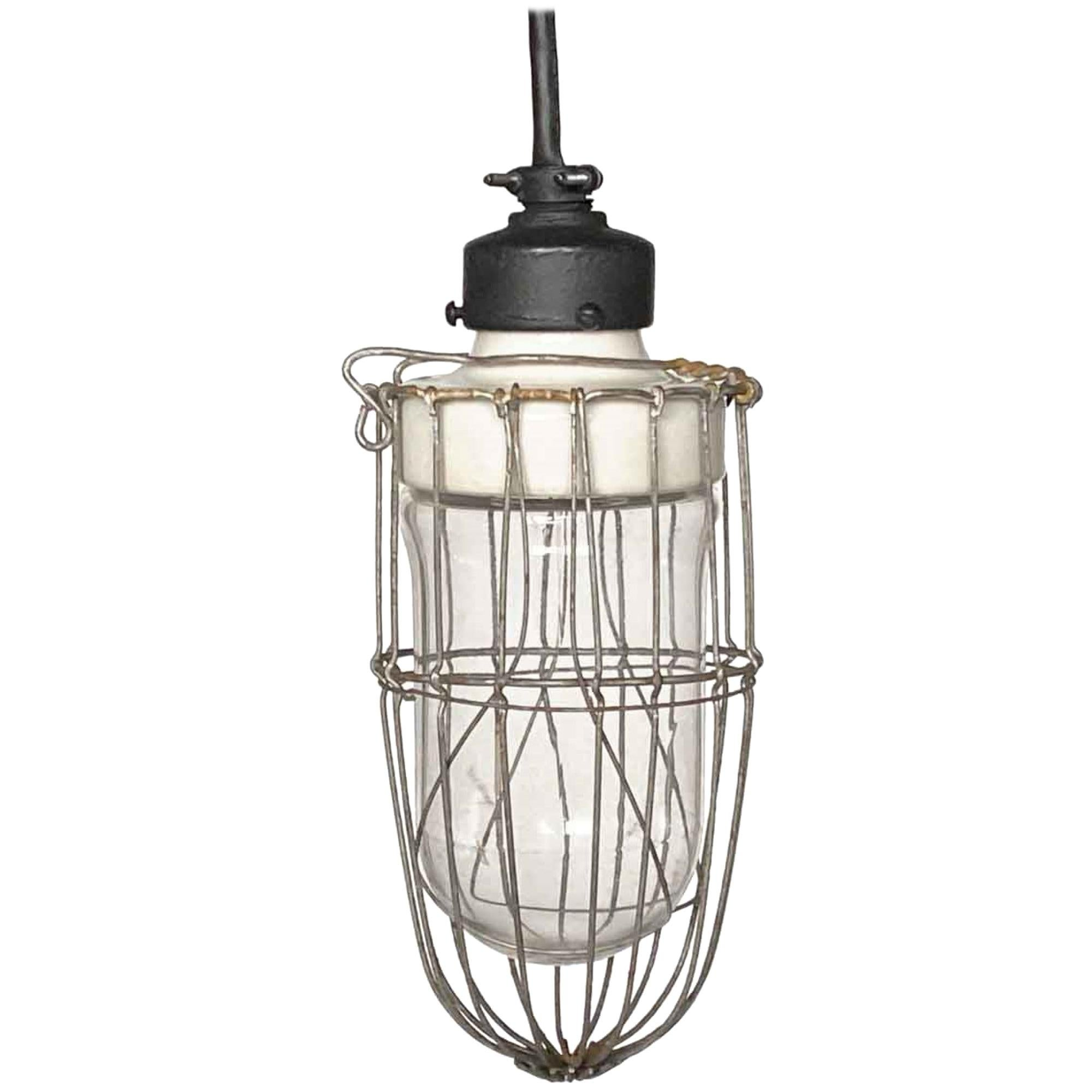 1920s Industrial Cage Pendant Light with Porcelain Fixture and Steel Cage