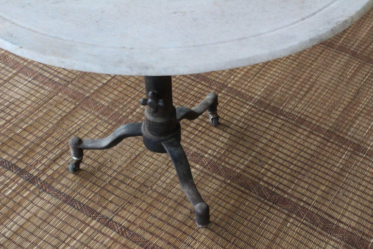 French 1920s Industrial Cast Iron and Marble Table For Sale