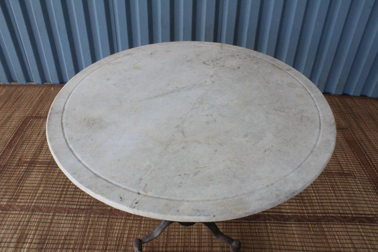 1920s Industrial Cast Iron and Marble Table In Good Condition For Sale In Los Angeles, CA