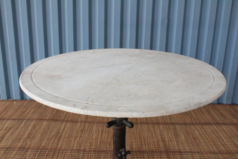 1920s Industrial Cast Iron and Marble Table For Sale 1
