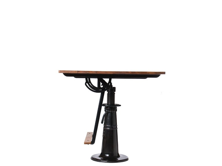 American 1920s Industrial 'Hi-Low' Blackened Brass and Teak Drafting Table by FO Weydell For Sale