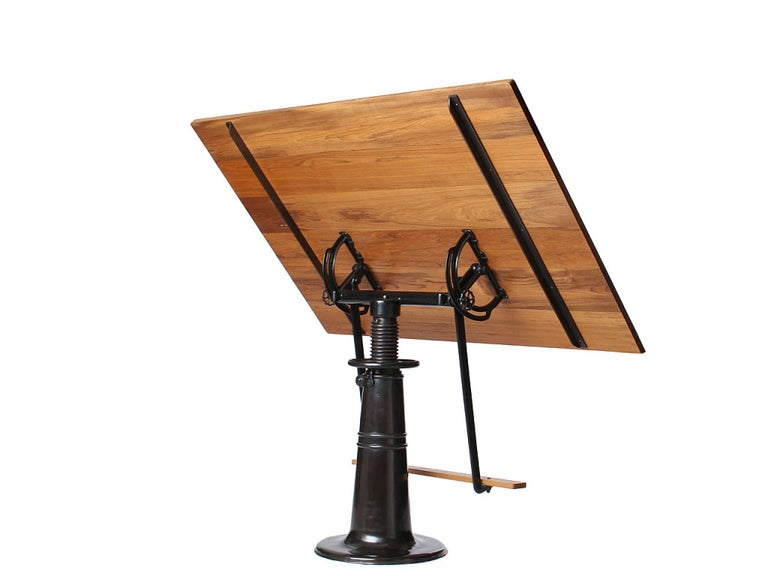 20th Century 1920s Industrial 'Hi-Low' Blackened Brass and Teak Drafting Table by FO Weydell For Sale
