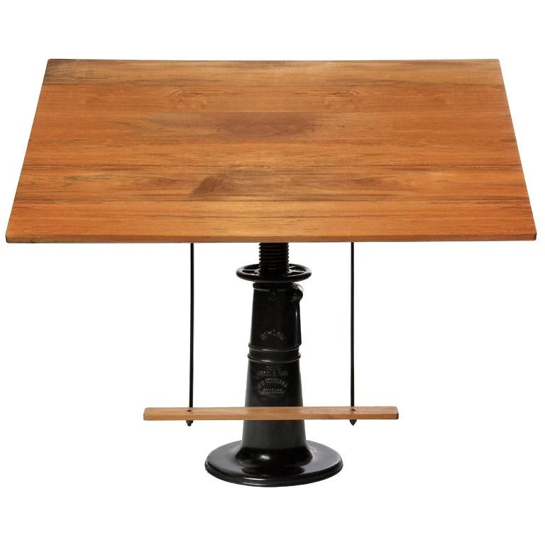 1920s Industrial 'Hi-Low' Blackened Brass and Teak Drafting Table by FO Weydell