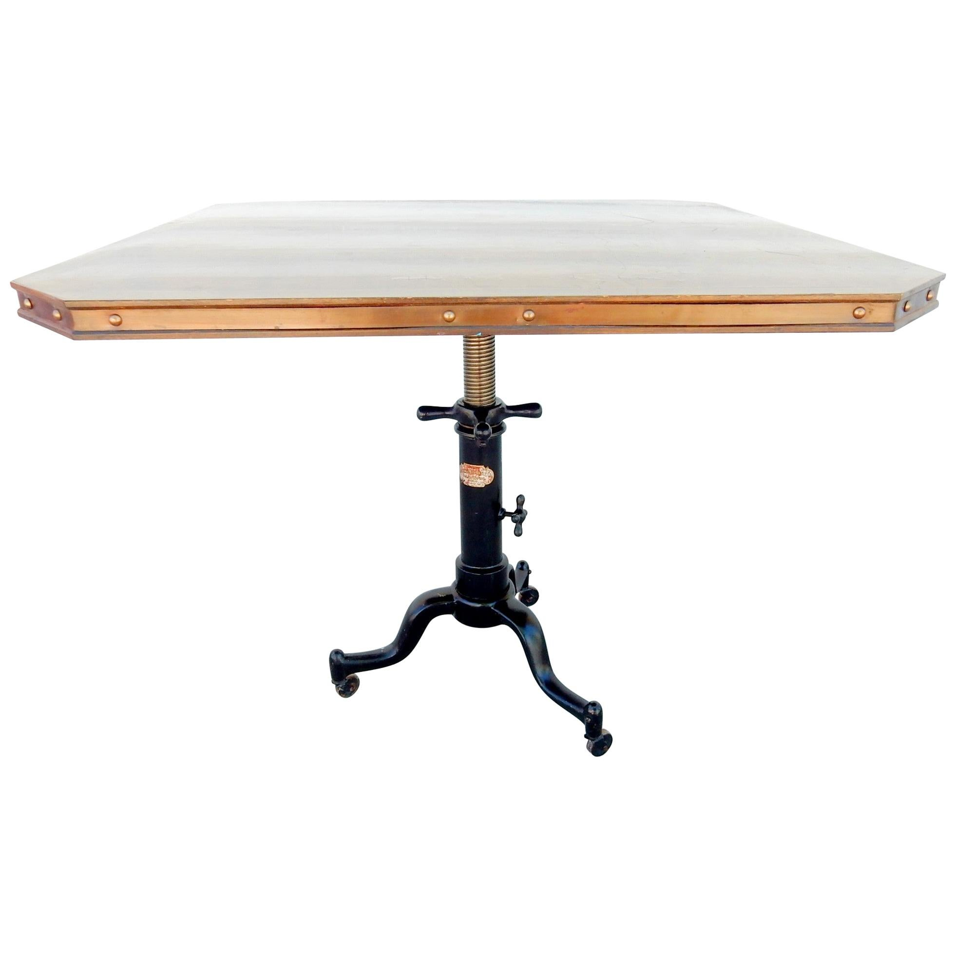 1920s Industrial Machine Age Adjustable Base Dining Cafe Table