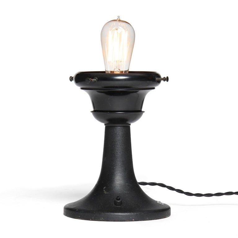 Enameled 1920s Industrial Steel Table Lamp by Bausch & Lomb For Sale