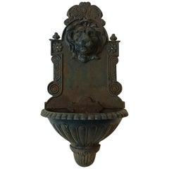 1920s Iron Lion Head Wall Fountain