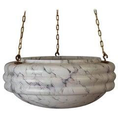 1920s Italian Alabaster Plaffonier Light Shade