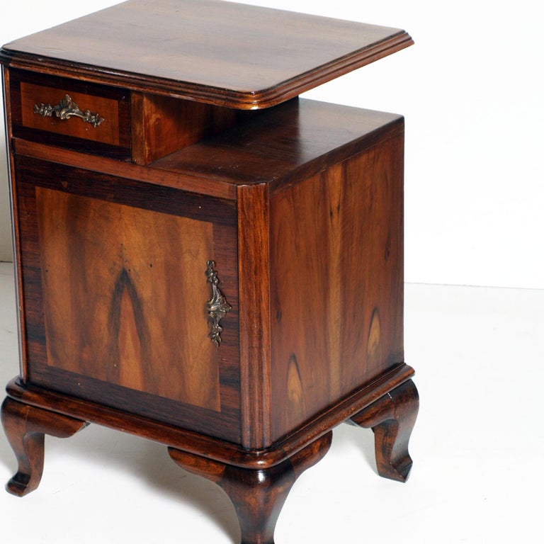 Baroque Revival 1920s Italian Baroque Bedside Table Nightstand Massive Walnut and Walnut Applied For Sale
