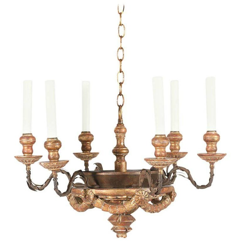 1920s Italian Carved Wood and Iron Chandelier