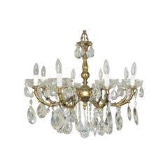 1920s Italian Chandelier with Large Czechoslvakian Crystals