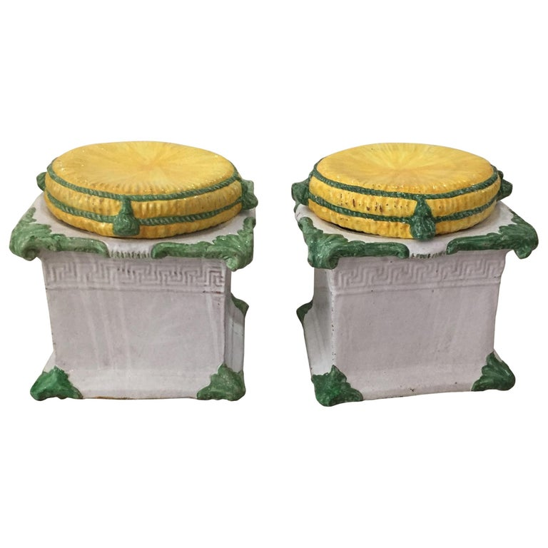 1920s Italian Glazed Terracotta Loggia Garden Stools Greek Key Motif, a Pair For Sale