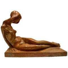 1920s Italian Mazzolani Signed Ceramic Sculpture of a Nude Woman