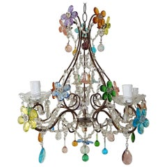1920s Italian Murano Multi-Color Crystal Flowers, Bells and Drops Chandelier
