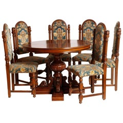 1920s Renaissance Extendable Table & Chairs  Carved Walnut Restored Wax-Polished