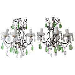 1920s Italian Rococo Green Crystal Prisms 3 Light Pair Sconces