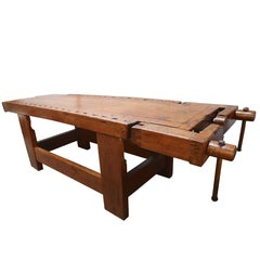 1920s Italian Wooden Carpenter's Bench with Three Working Vices