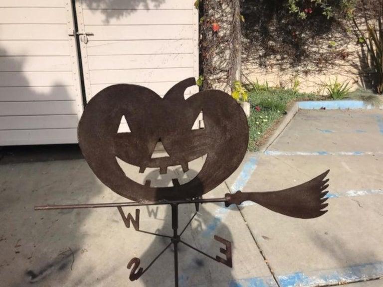 Adirondack 1920s Jack O-Lantern on Witches Broom Weather Vane For Sale