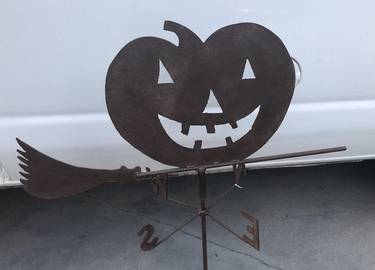 Hand-Crafted 1920s Jack O-Lantern on Witches Broom Weather Vane For Sale
