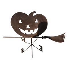 1920s Jack O-Lantern on Witches Broom Weather Vane