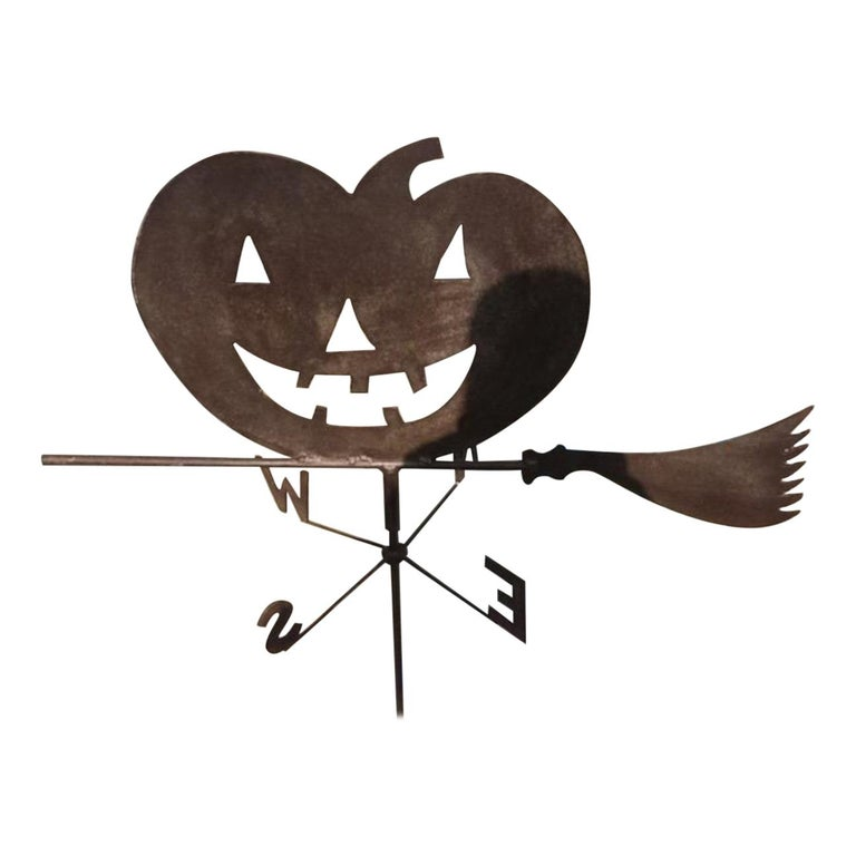 1920s Jack O-Lantern on Witches Broom Weather Vane For Sale