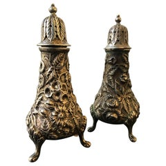 1920s Jacobi and Jenkins Sterling Repousse Salt and Pepper Shakers