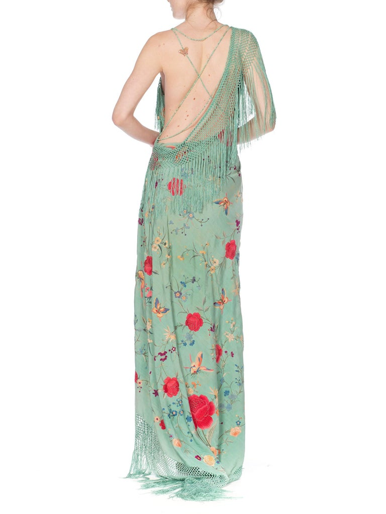 Morphew Collection Jade Piano Shawl Backless Dress with Fringe Train, 1920s  For Sale 5