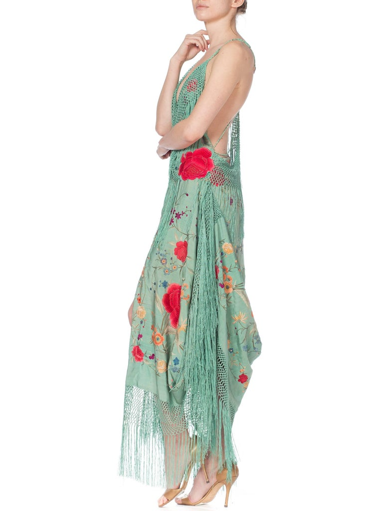 Morphew Collection Jade Piano Shawl Backless Dress with Fringe Train, 1920s  For Sale 8