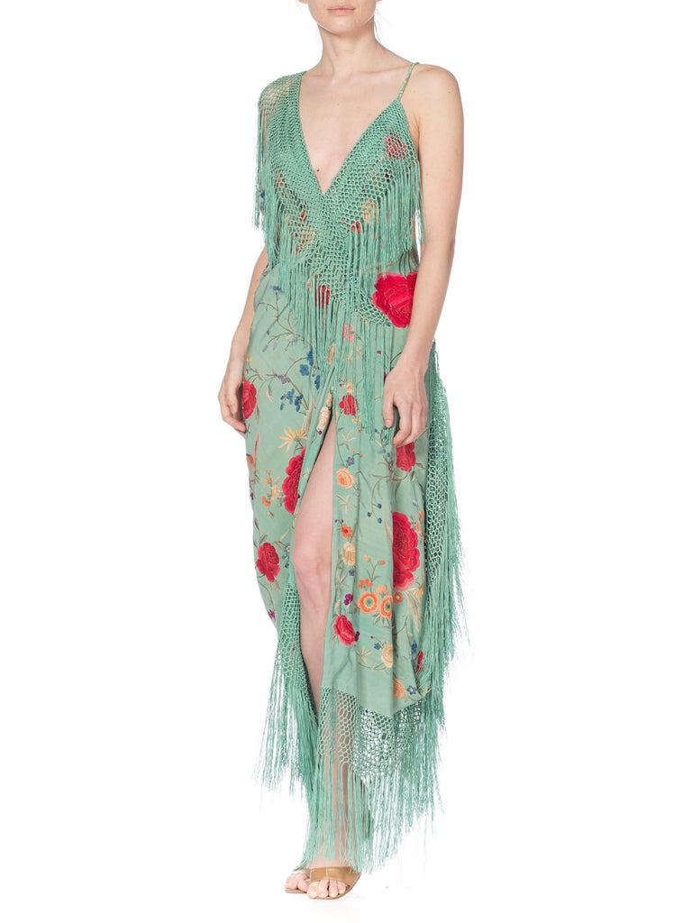 Morphew Collection Jade Piano Shawl Backless Dress with Fringe Train, 1920s  For Sale 10