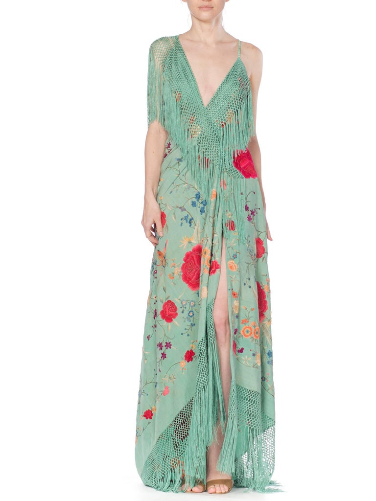 Gray Morphew Collection Jade Piano Shawl Backless Dress with Fringe Train, 1920s  For Sale