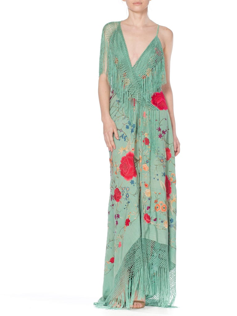 Women's Morphew Collection Jade Piano Shawl Backless Dress with Fringe Train, 1920s  For Sale