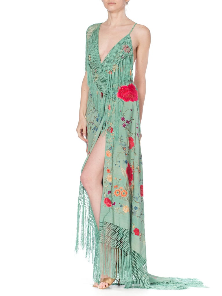 Morphew Collection Jade Piano Shawl Backless Dress with Fringe Train, 1920s  For Sale 1