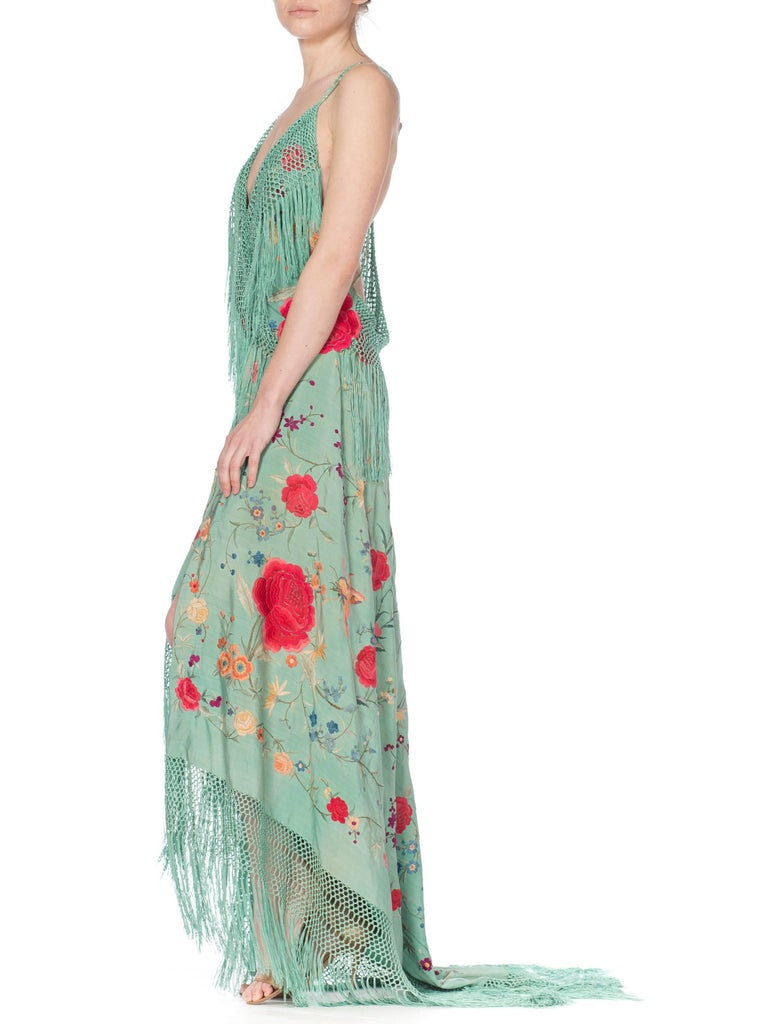 Morphew Collection Jade Piano Shawl Backless Dress with Fringe Train, 1920s  For Sale 2