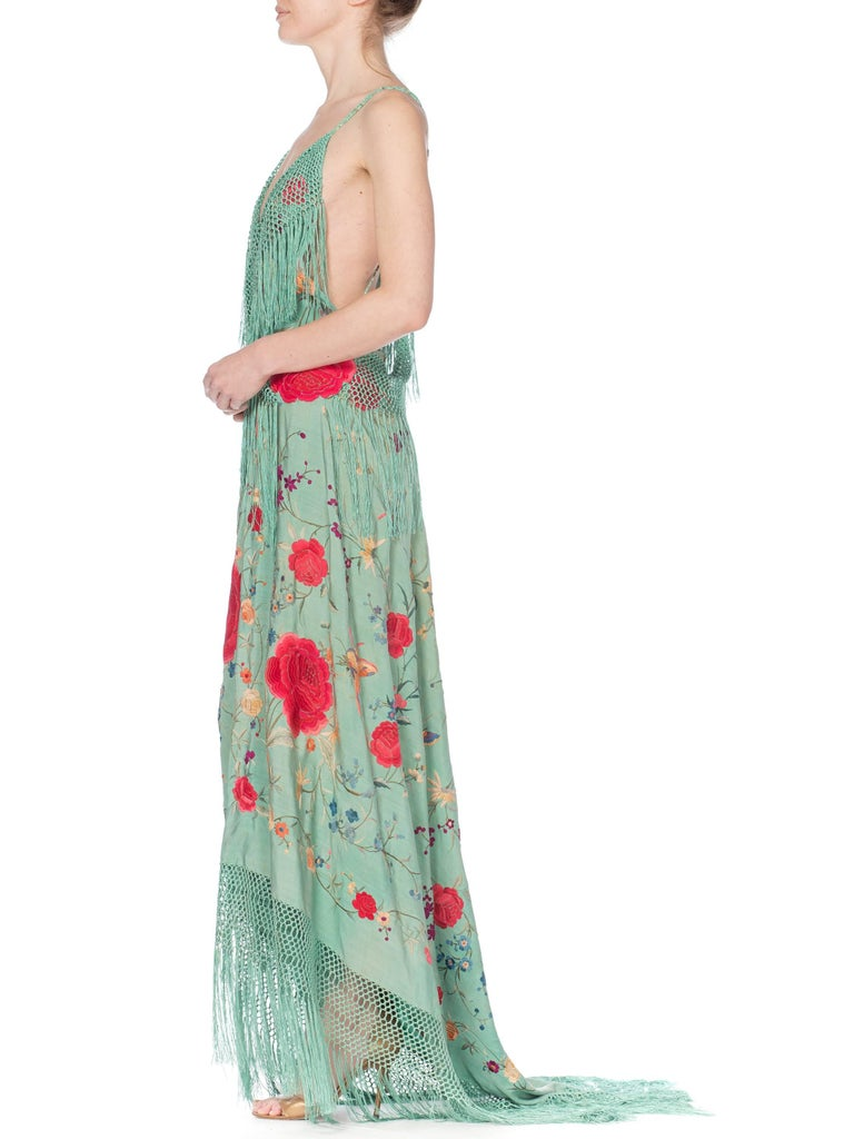Morphew Collection Jade Piano Shawl Backless Dress with Fringe Train, 1920s  For Sale 3
