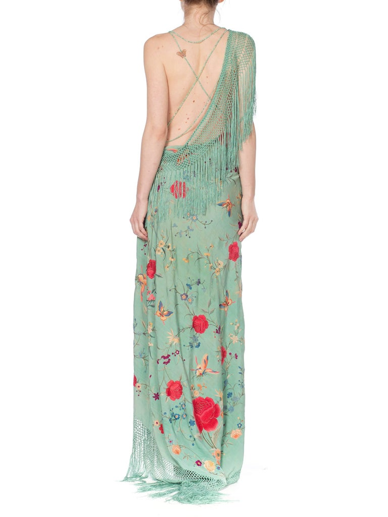 Morphew Collection Jade Piano Shawl Backless Dress with Fringe Train, 1920s  For Sale 4