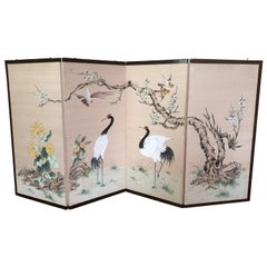 1920s Japanese 4 Panel Screen Chrysanthemum Birds Heron