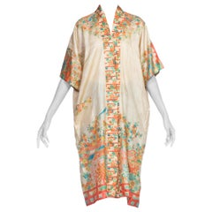1920's Japanese Silk Asian Floral Kimono