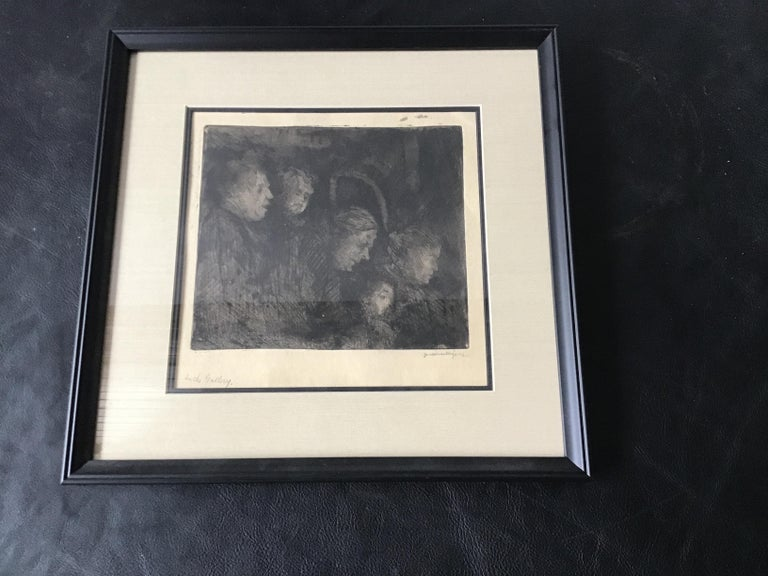 1920s Jerome Myers print titled in the Gallery. Signed.