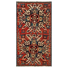 1920s Kazak Blue, Red and White Handmade Wool Rug