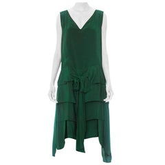 1920S Kelly Green Silk Modernist Swing Panel Flapper Cocktail Dress